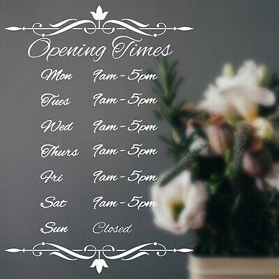 Opening Hours Times Shop Sign Sticker Personalised Elegant Floral Florist Coffee