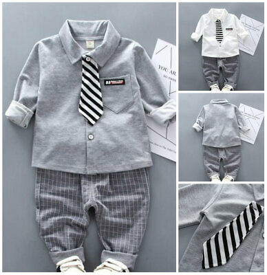 2pcs baby outfits cotton Shirt+ Tie + pants baby boys wedding birthday tuxedo
