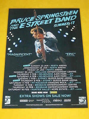 BRUCE SPRINGSTEEN 2017 Australian Tour - Laminated Promo Poster - ALL DATES