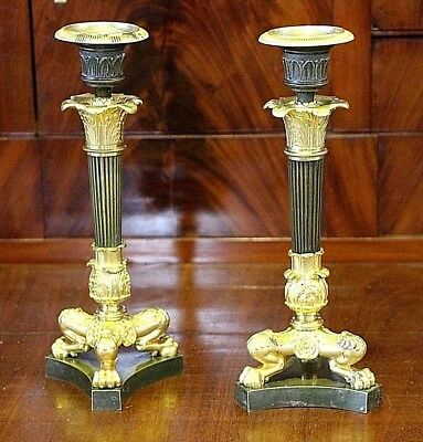 Antique pair French Empire candlesticks gilt ormolu bronze Paris Directoire