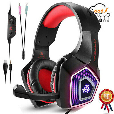 Hunterspider Gaming Headset For PS4 Xbox One PC Laptop Stereo Headphone Mic LED