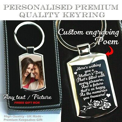 Personalised Custom Engraving  Keyring Printed Front Mothers Day Premium Gift ❤❤