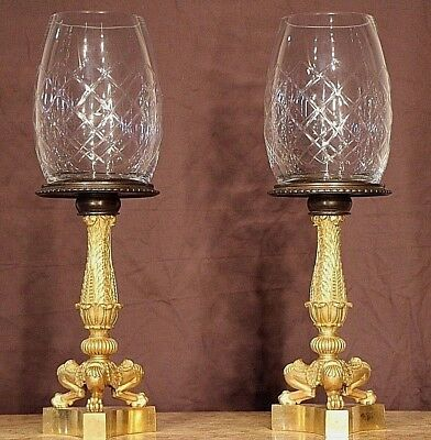 Pair French antique gilt bronze Empire tazza cassolettes lamps ormolu urns 1835
