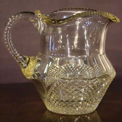 Rare antique cut glass Irish jug pitcher 1800s late Georgian Regency original
