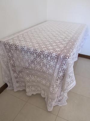 Lovely Vintage Large Banquet CROCHET TABLECLOTH fa