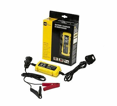 AA Intelligent Car / Bike Battery Charger for 6V and 12V Lead Acid  Black/Yellow