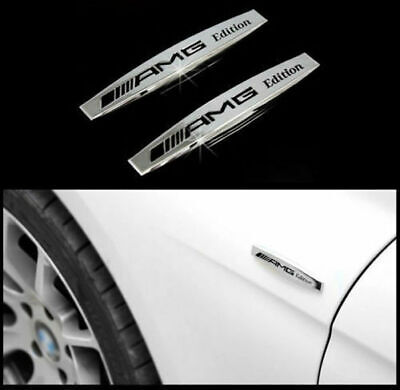 2Pcs Logo Emblema 3D Mercedes Benz Amg Edition Metallo Adesivo Stemma Badge