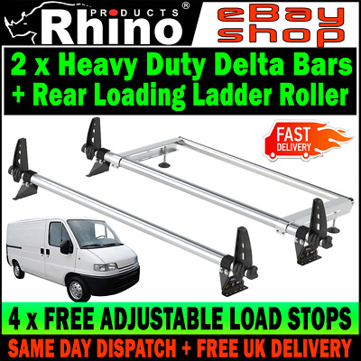 LOW-H1 Fiat Ducato Roof Rack Bars x2 Rhino With Rear Roller For 1995-2006 Van