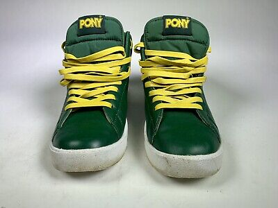 a988be6150b8 MEN S VINTAGE PONY CITY WINGS Basketball Shoes Green Yellow CHEVRON Design
