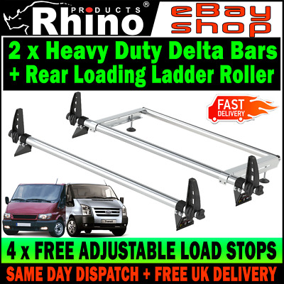 (SWB+MWB=LOW-H1) Ford Transit Roof Rack Bars x2 With Roller 2000-2014 Rhino Van