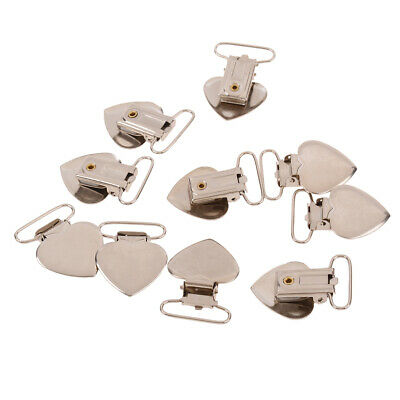 10pcs heart shape pacifier suspender clips holder crafts w plastic insert 25mmRW