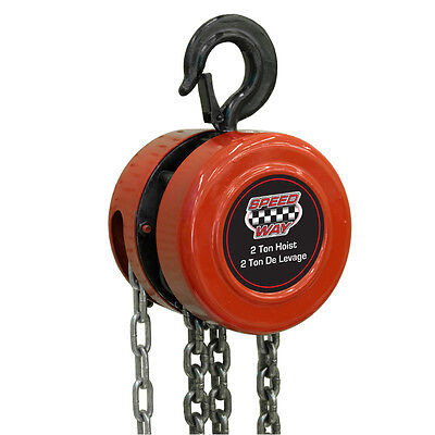 Speedway Indoor or Outdoor Shop / Garage Hanging Manual 2-ton Chain Hoist