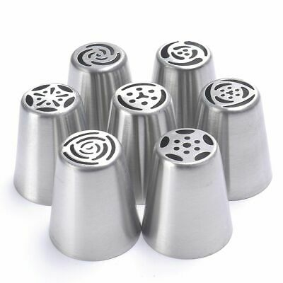 7Pcs Russian Tulip Nozzle Bakeware Icing Piping Tips Baking Pastry Cake