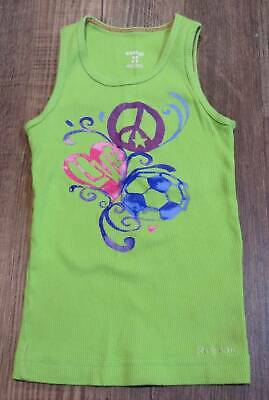 4d99b7ff95638 Reebok Lime Green Peace Love Soccer Ribbed Tank Top Girls Size XS Excellent  Cond