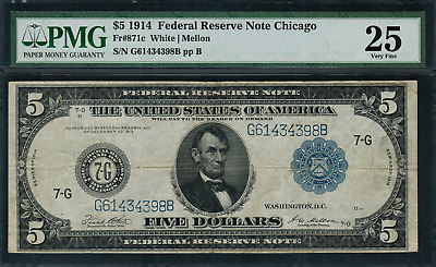 1914 $5 Federal Reserve Note Chicago FR-871c - Graded PMG 25 Very Fine