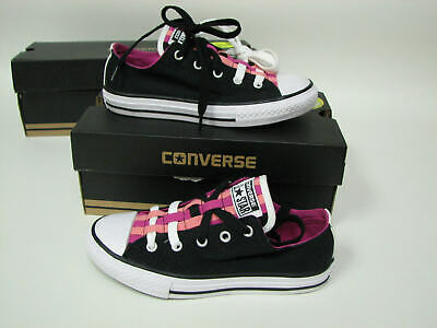 53ab2fd1a7b0 Converse All Star Loopholes Ox GS Black Plastic Pink Daybreak 651742F Kids  Sz 13