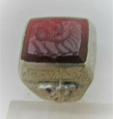 Superb Late Medieval Islamic Silver Ring With Carnelian Beast Intaglio