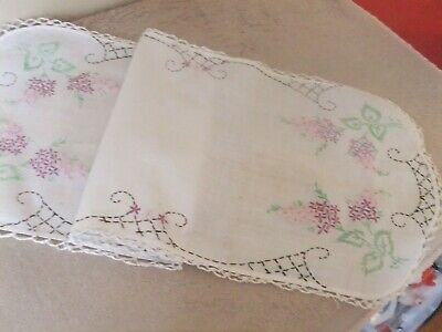 Vintage Table Top/Table Runner White w/embroidery & Lace Trim #79TR
