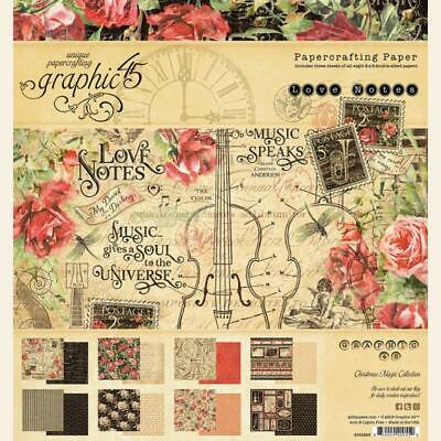 Graphic45 G45 LOVE NOTES 8x8 PAPER PAD scrapbooking (24) sheets (8) designs