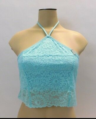 5a763bb49e Victorias Secret PINK Lace Bralette Unlined High Neck Crop Halter Bra Aqua  Sz M