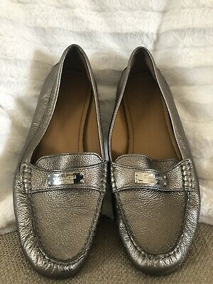 ff577b73e9c Coach Fredrica Gray Pewter Silver Leather Loafer Moccasins Slip On Womens  9.5B