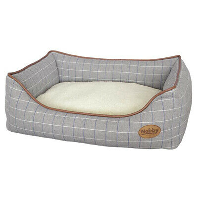 Nobby Dog Bed Rectangular Remo Grey Checked, Various Sizes, New