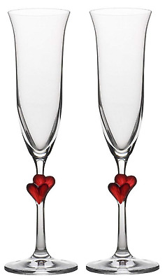 Stoelzle Lausitz L´Amour Sparkling Wine Flutes with red hearts, 175 ml, set of