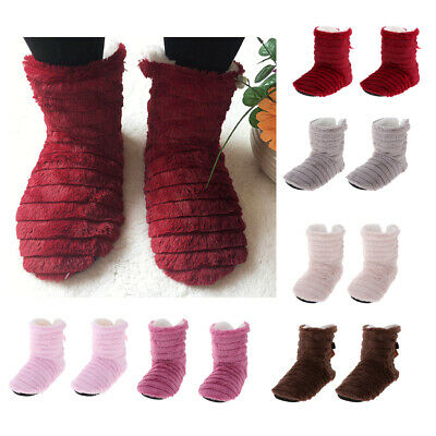Ladies Slipper Boots Plush Fur Lined Winter Warm Thermal Ankle Bootie Shoes