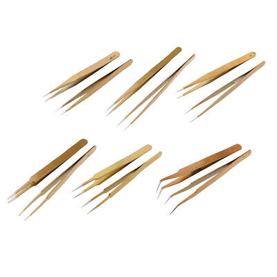 2x Eyelash Extension Steel Anti-static Straight Curved Pointed Tweezers Gold