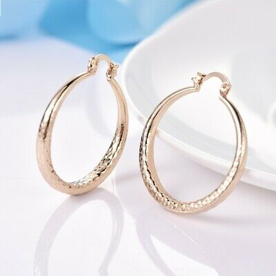 18K Yellow Gold Filled Fit Charms Big Round Dangle Hoop Earrings For Women