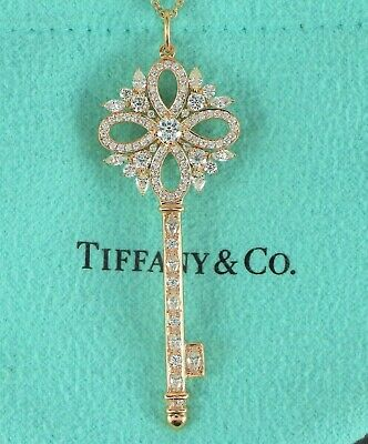 43e5b9920 $11k Tiffany Co 18K Rose Gold Victoria Marquise Pear Diamond Large Key  Necklace