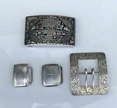 Collection / Lot 4 Sterling Silver Belt Buckles Mexico Southwest Hickok Abalone