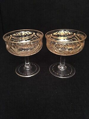 Antique French St.Louis / Moser Pair of Matching Glasses c1920's with Gilt Decor