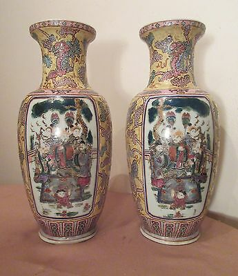 pair 2 large handmade antique Daoguang Chinese porcelain baluster figural vase