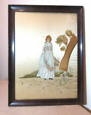 antique 1800's hand embroidered figural French silk needlepoint art sampler