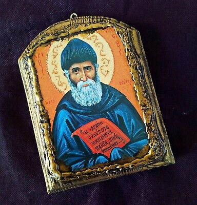 Saint Paisios the Athonite monk russian Greek orthodox byzantine wood icon