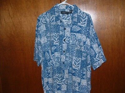 Cactus Black Label Men S L Blue Fl Hawaiian On Front Shirt