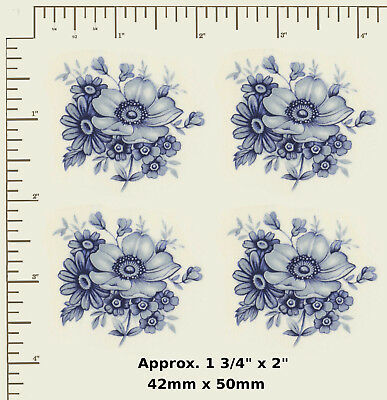 "4 x Ceramic decals Decoupage Blue spray floral Flowers 1 3/4"" x 2""  R31"