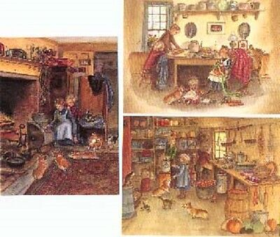 3 Vintage Tasha Tudor Home Greeting Cards w Envelopes MINT condition with Corgi