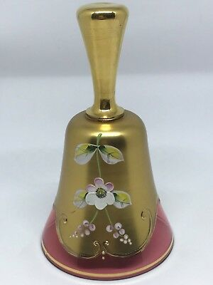 Bohemian Czech  24kt Gold Gilt & Enamel Hand Blown Crystal Bell Excellent