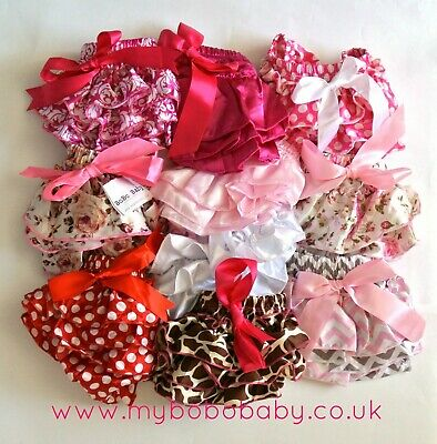 Baby Girl Bloomers Nappy Cover Satin Frills Bow Age 1 - 2 Years