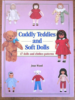 ~Cuddly Teddies And Soft Dolls - 47 Dolls And Clothes Patterns - Wood - Vgc~