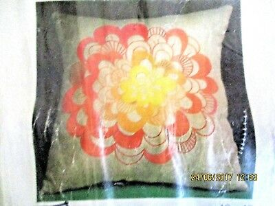 BRODERIES DE FETE COLLECTION DMC x 2 - RETRO CUSHION COVERS - MADE FRANCE-UNUSED
