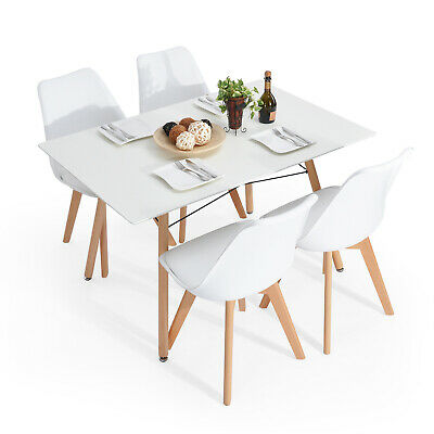 Rustic Mid-Century Modern 4-Seating Dining Table Set in White and Natural Wood