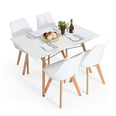 Rustic Mid-Century Modern 6-Seating Dining Table Set in White and Natural Wood