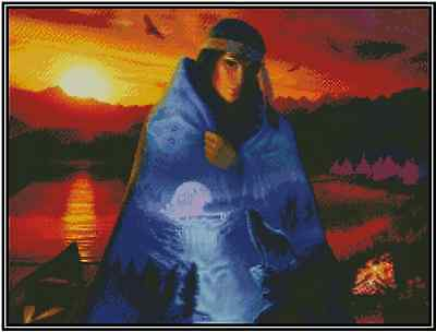 Native American Girl At Sundown Point de Croix Kit Complet #21-116