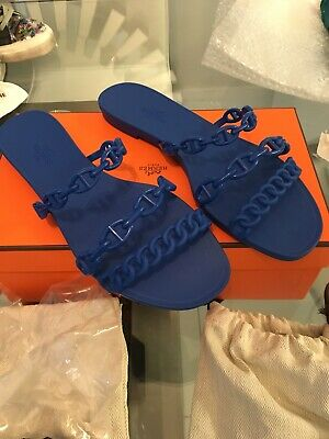 f1f225985dd9 NEW HERMES RIVAGE JELLY RUBBER CHAINE D ANCRE RIVAGE SANDALS BLEU Size 38