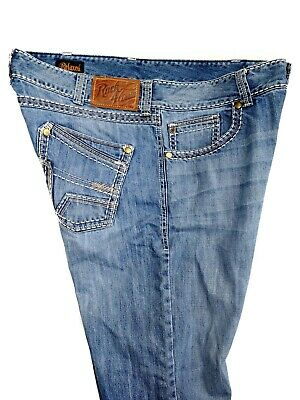 1ebf1d53 Wrangler Rock 47 Mens Relaxed Blue Jeans Thick Stitch Embroid MRR47BA Size  38x32