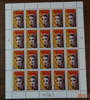 Scott #3308 Literary Arts - Ayn Rand Mint Sheet ( F. V. - $6.60 )