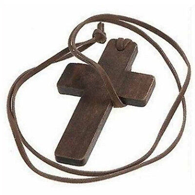 Fashion Wooden Wood Bamboo Rosary Beads Cross Religious Necklace Mens Womens